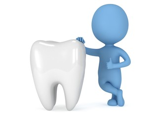 3d blue man stand near tooth