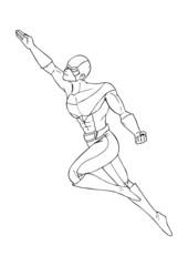 Outline illustration of a superhero flying