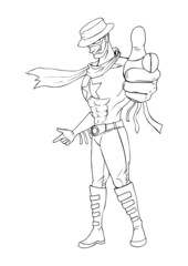 Outline illustration of a superhero pointing