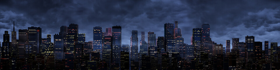 Night city panorama