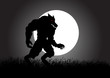 A werewolf lurking in the dark during full moon
