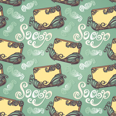 Vector Seamless Pattern with Vintage Ornate Bar of Soap