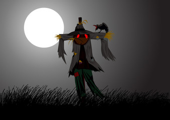 Illustration of a scarecrow on field during full moon