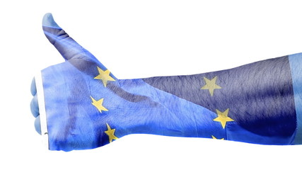 Flag of EU over hand showing thumbs up.