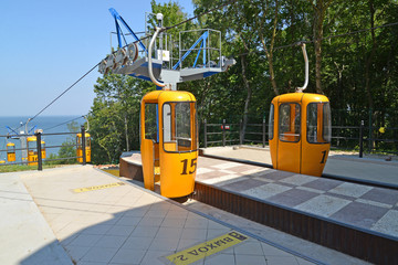 Cabins on a ropeway platform in Svetlogorsk, Russia