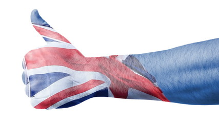 British flag over hand showing thumbs up.