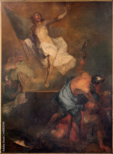 canvas print picture Bruges - Resurrection of Christ paint in st. Jacobs church