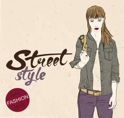 Fashion hipster girl. Hand drawn vector illustration