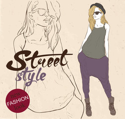 Fashion hipster girl with glasses. Hand drawn vector