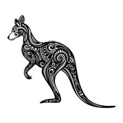Vector Decorative Kangaroo. Patterned design
