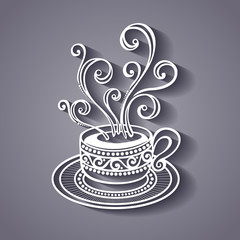 Vector Decorative Cup of Coffee with Steam