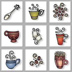 Vector Set of Ornamental Coffee Cups with Long Shadow, Patterned