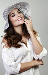 pretty woman with hat, smile