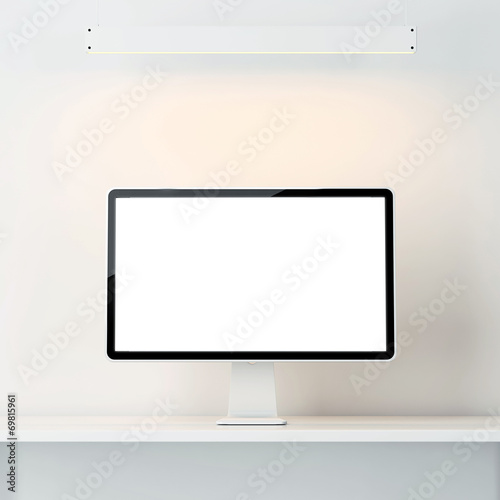 canvas print picture white interior with computer display