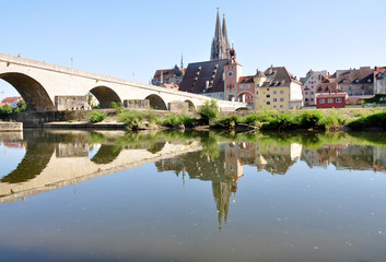 view of the city of Regensburg and the old bridge, Germany