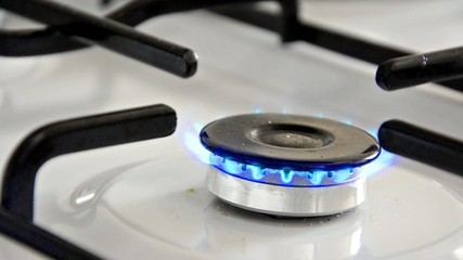 Burning gas stove Close up soft focus