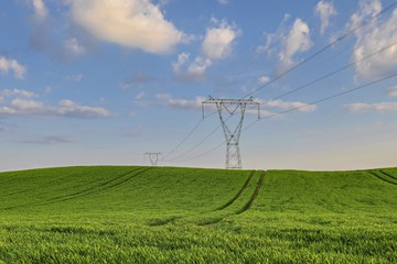Krajobraz wiejski,  przesyłanie energii elektrycznej