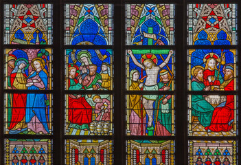 Bruges - Biblical scenes on windowpane in St. Salvator's church