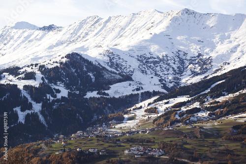 canvas print picture Erster Schnee in den Alpen