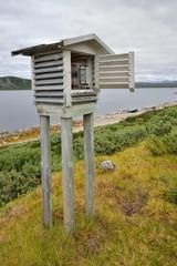 Norwegia ,stacja meterologiczna,  krajobraz wiejski