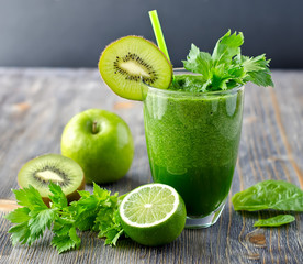 Healthy green smoothie beverage with spinach and celery