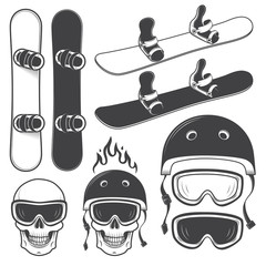 Set of black and white snowbords and designed snowboarding eleme