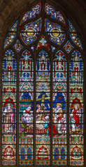 bruges - The death of st. Helen on windowpane