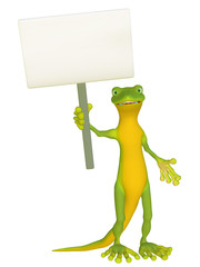 Geckowith a blank sign