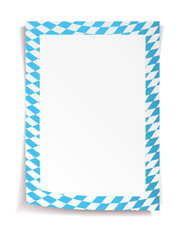 Paper board in bavarian colors on white background