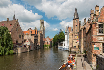Bruges - View from the Rozenhoedkaai to canal and Belfort