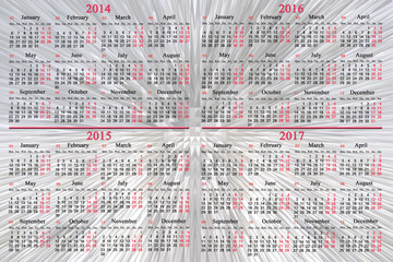 calendar for 2014 - 2017 years