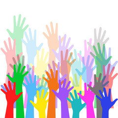 Colorful hands out of the crowd - background