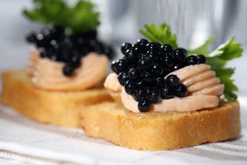 Black caviar, pate and vodka