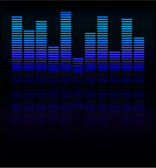 Audio level blue LED from Music Studio with reflection Vector