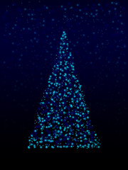 Winter Christmas Tree with Snow and Star Vector