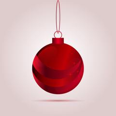Red Christmas bulb ball with shadow Vector