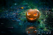 Creepy pumpkin next to a water stream