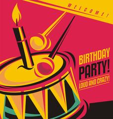 Birthday party invitation template with unique concepr