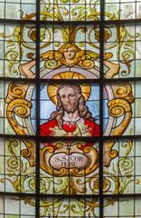Brussels - Heart of Jesus in windowpane