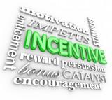 Incentive 3d Word Background Motivation Rewards Encouragement poster