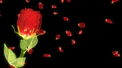 glossy rose made of shiny glass with petals