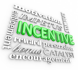 Incentive 3d Word Background Motivation Rewards Encouragement