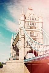 Tower Bridge in London, UK. Retro filter effect