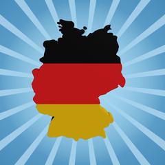 Germany map flag on blue sunburst illustration