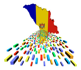 Moldova map flag with containers illustration