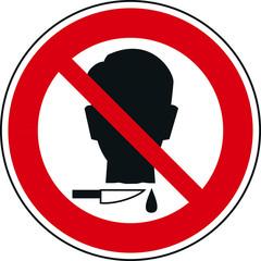 tête coupée panneau interdiction kazy