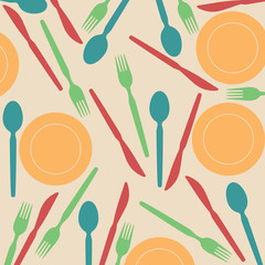 Seamless pattern of plate and cutlery