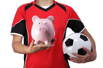 female bust in Football Uniform holding a piggy bank