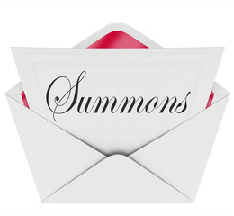 Summons to Appear in Court Letter Envelope Mail Legal Lawsuit Ca