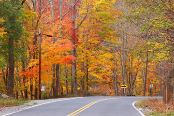 Beautiful autumn drive in Michigan up north